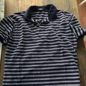 Navy Blue and White Striped Polo